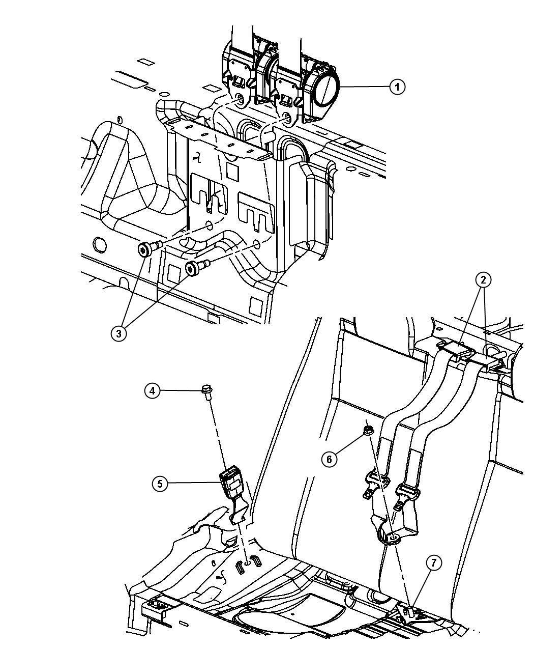 Chrysler Sebring Seat Belt Rear Inner Db Trim