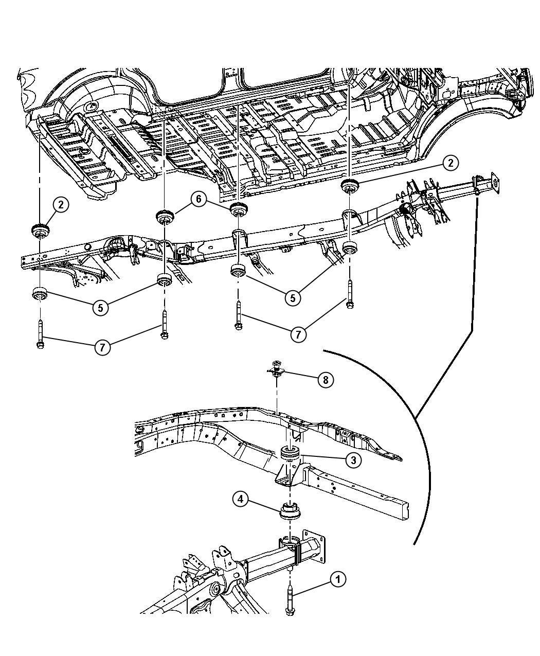 Dodge Durango Isolator Frame To Body Hold Down Mopar