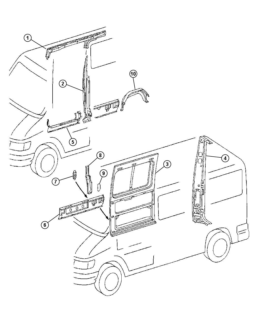 Dodge Sprinter Support Sill Reinforcement Right Without Sliding Door With 158