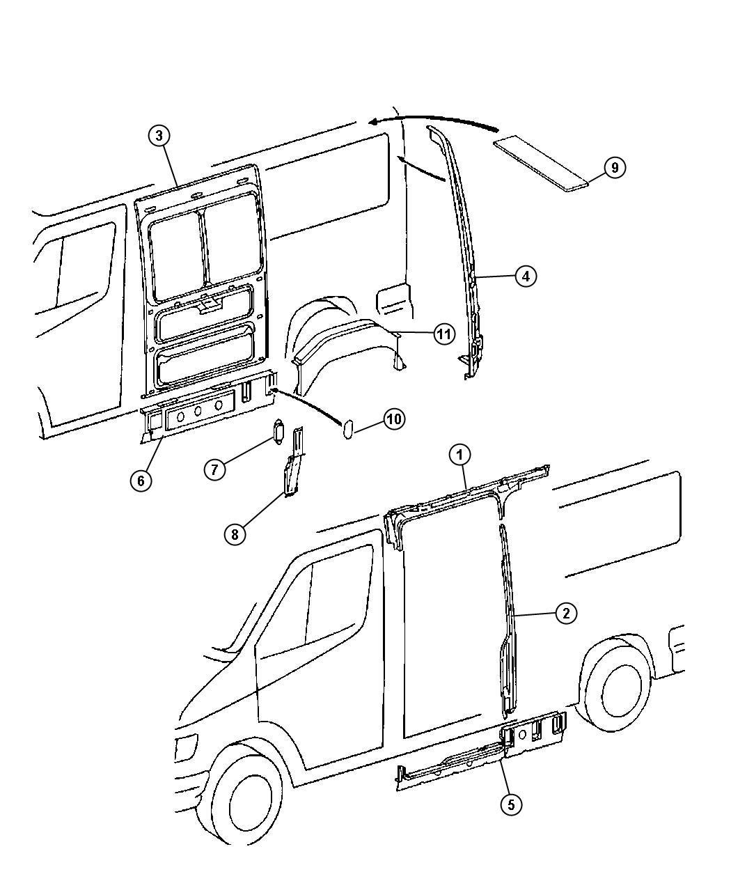 Dodge Sprinter Pillar Rear Cargo Door Hinge