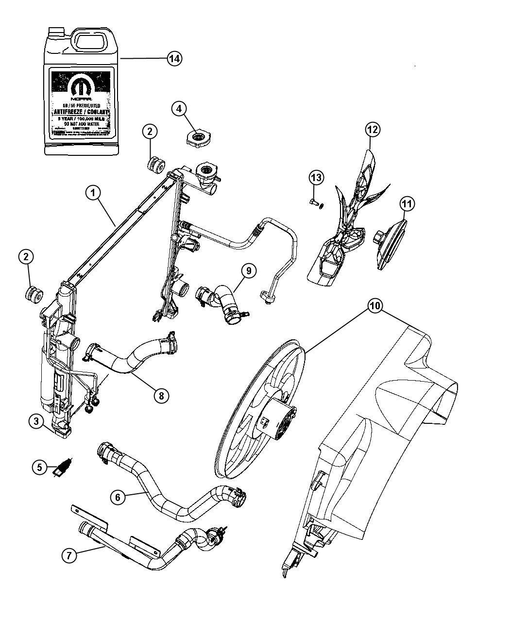 Dodge Nitro Hose Radiator Inlet Front End Parts