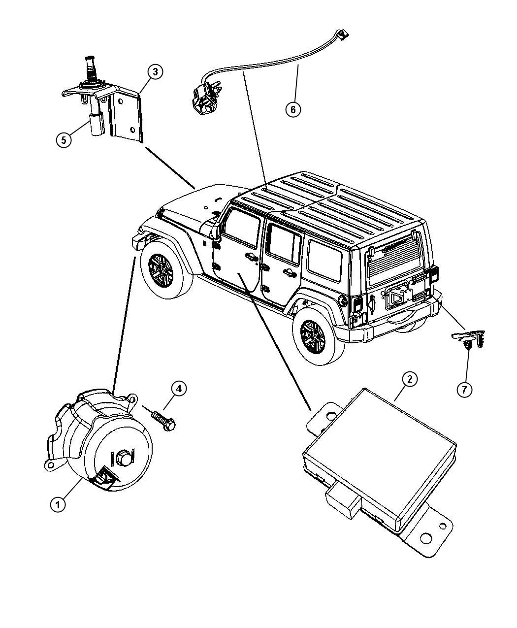 Jeep Wrangler Module Alarm Security Instrument Panel
