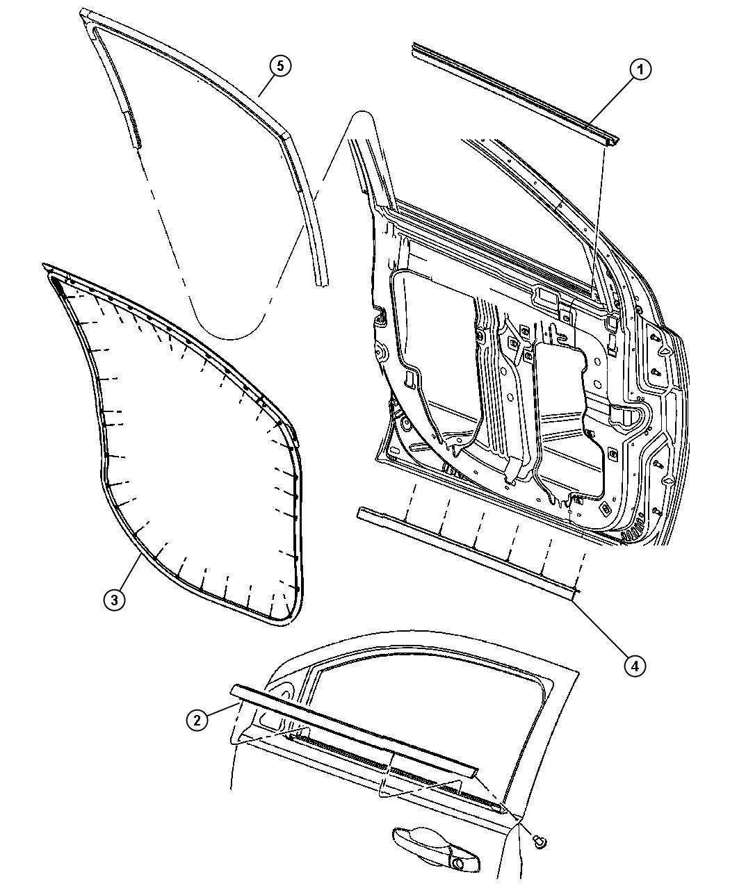 Dodge Caliber Weatherstrip Front Door Belt Right