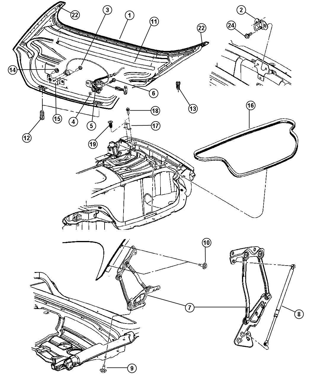 Dodge Viper Bracket Deck Lid Overslam Body