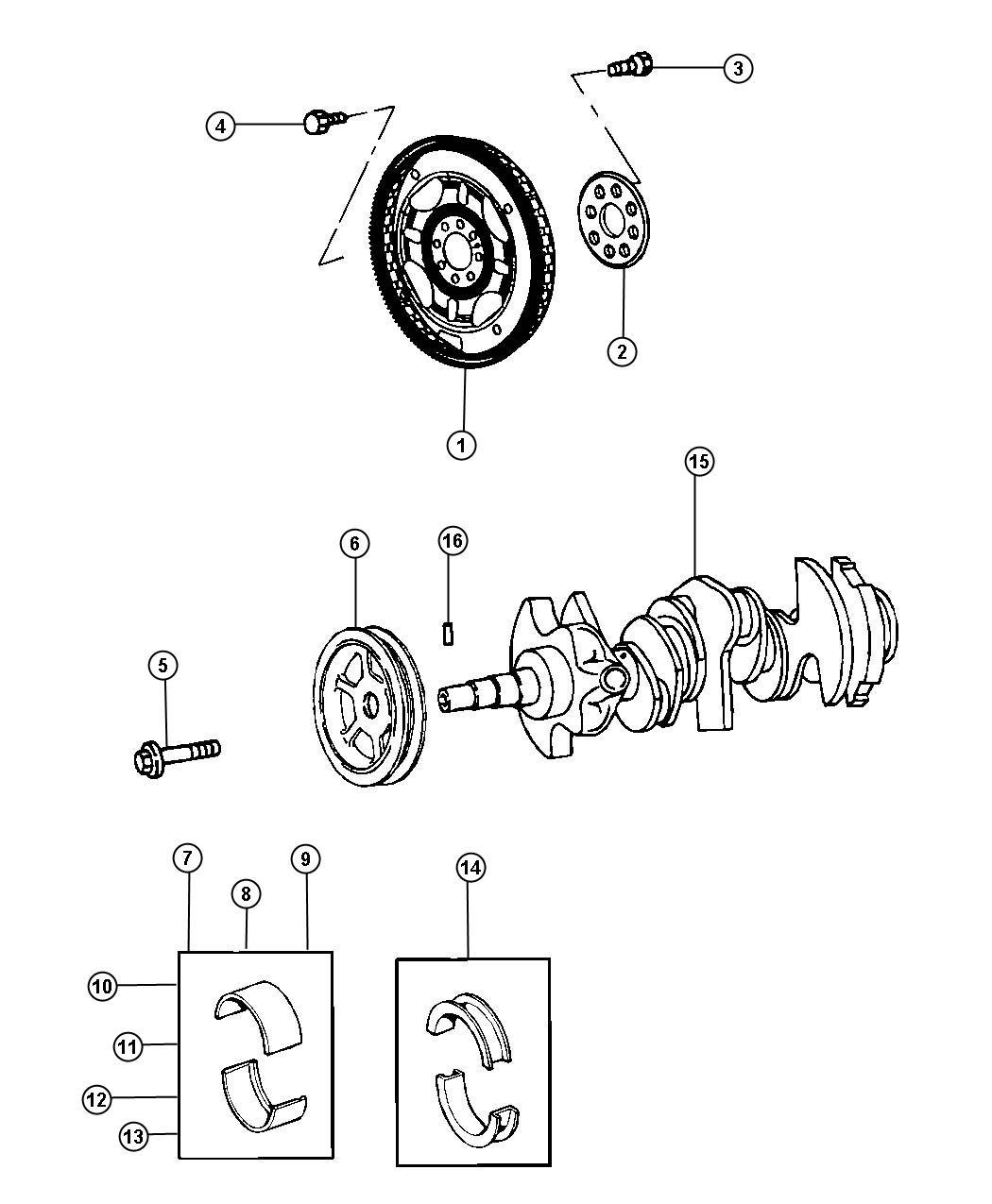 Chrysler 300 Bearing Package Crankshaft Standard