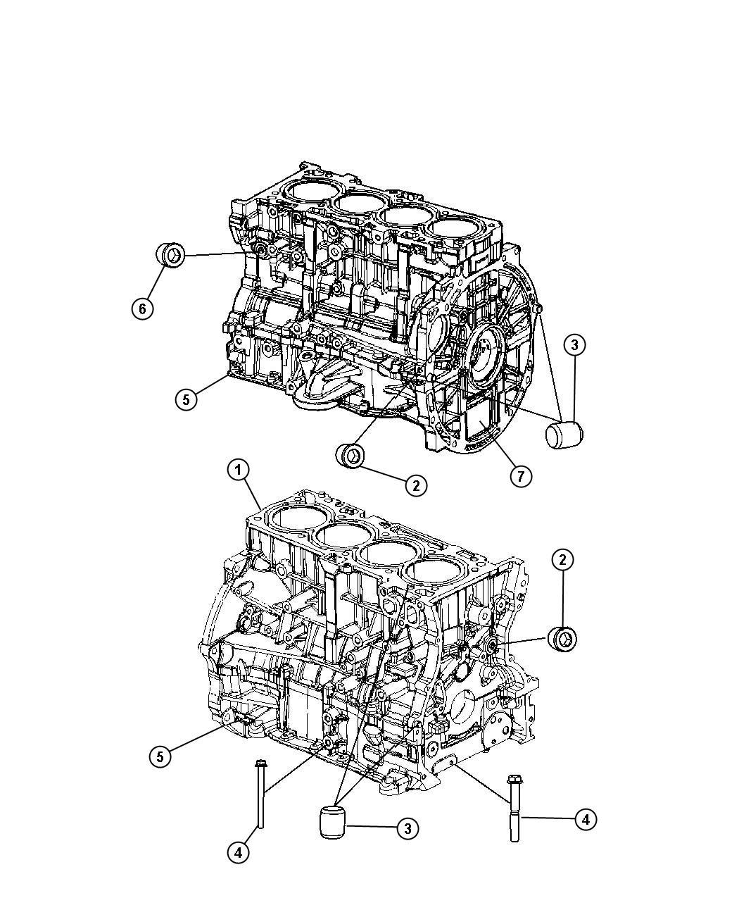 Dodge Caliber Engine Short Block Oil Cooler Power