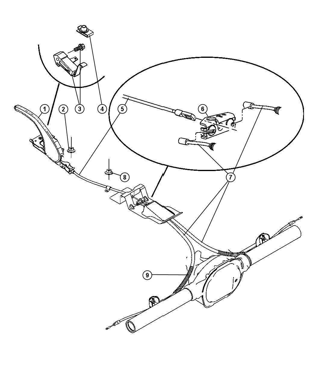 Jeep Grand Cherokee Cable Parking Brake Front Series P