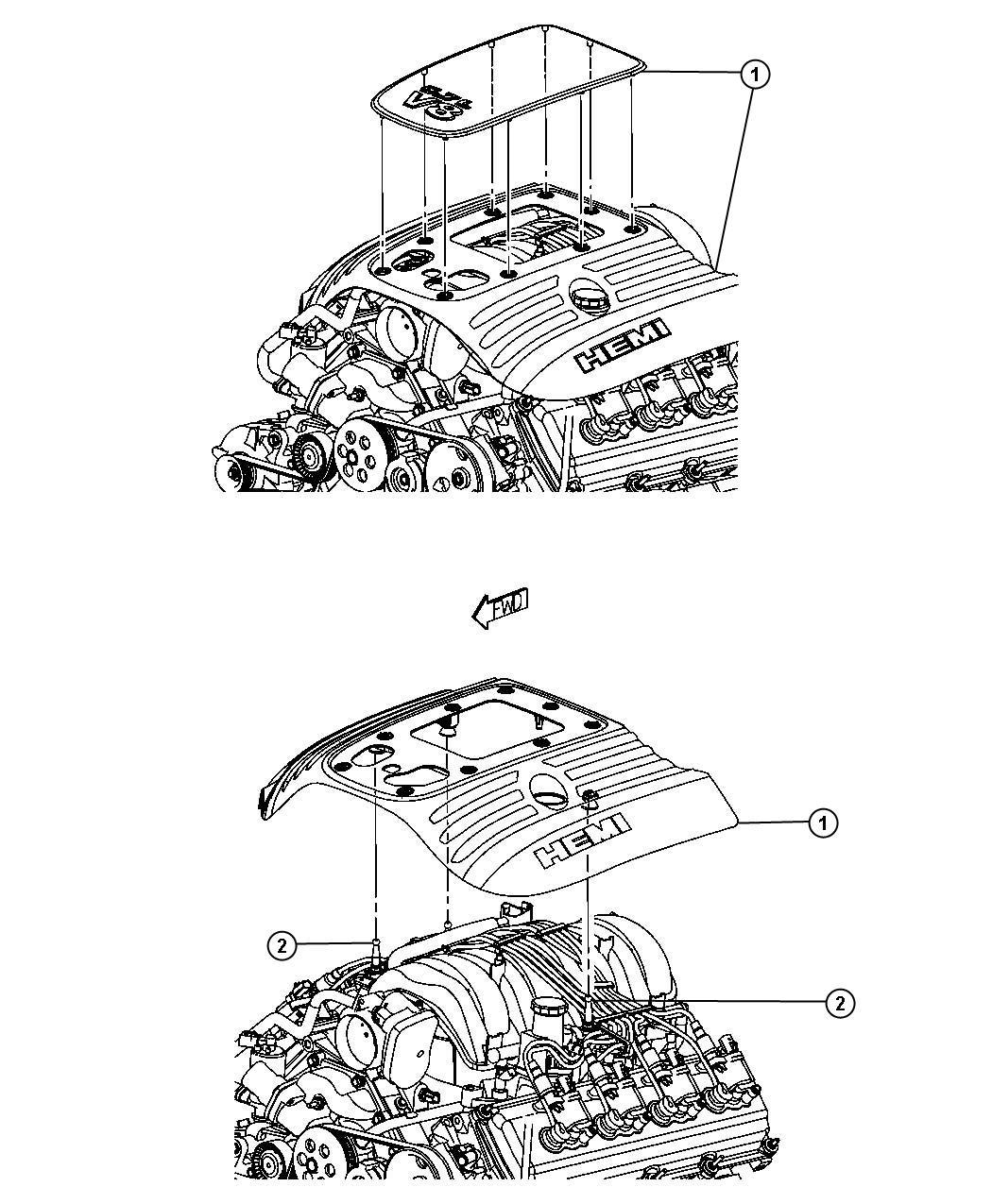 Dodge Charger Cover Engine Upper Markings Logo