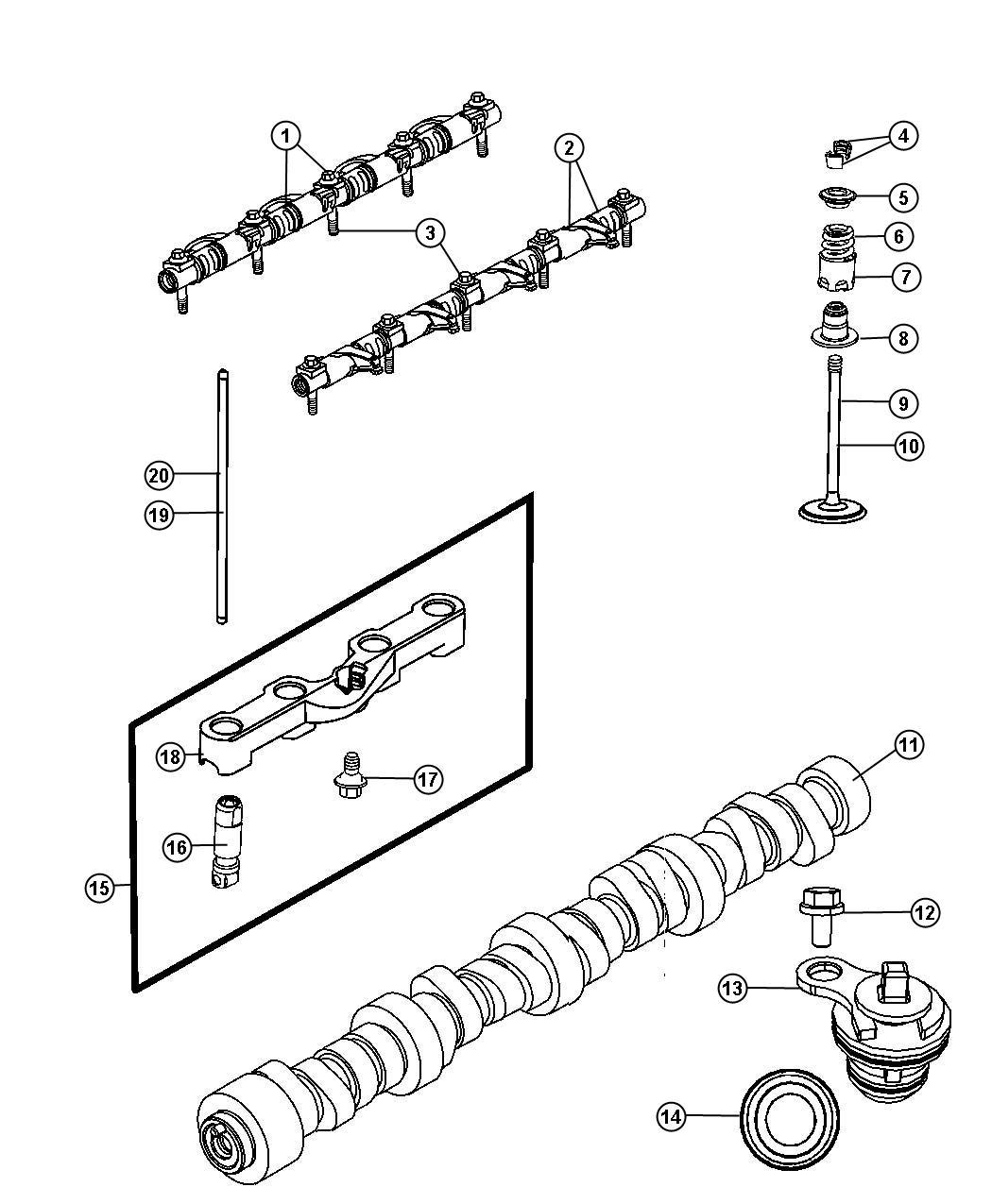 Dodge Challenger Push Rod Intake Valve Camshaft Esf