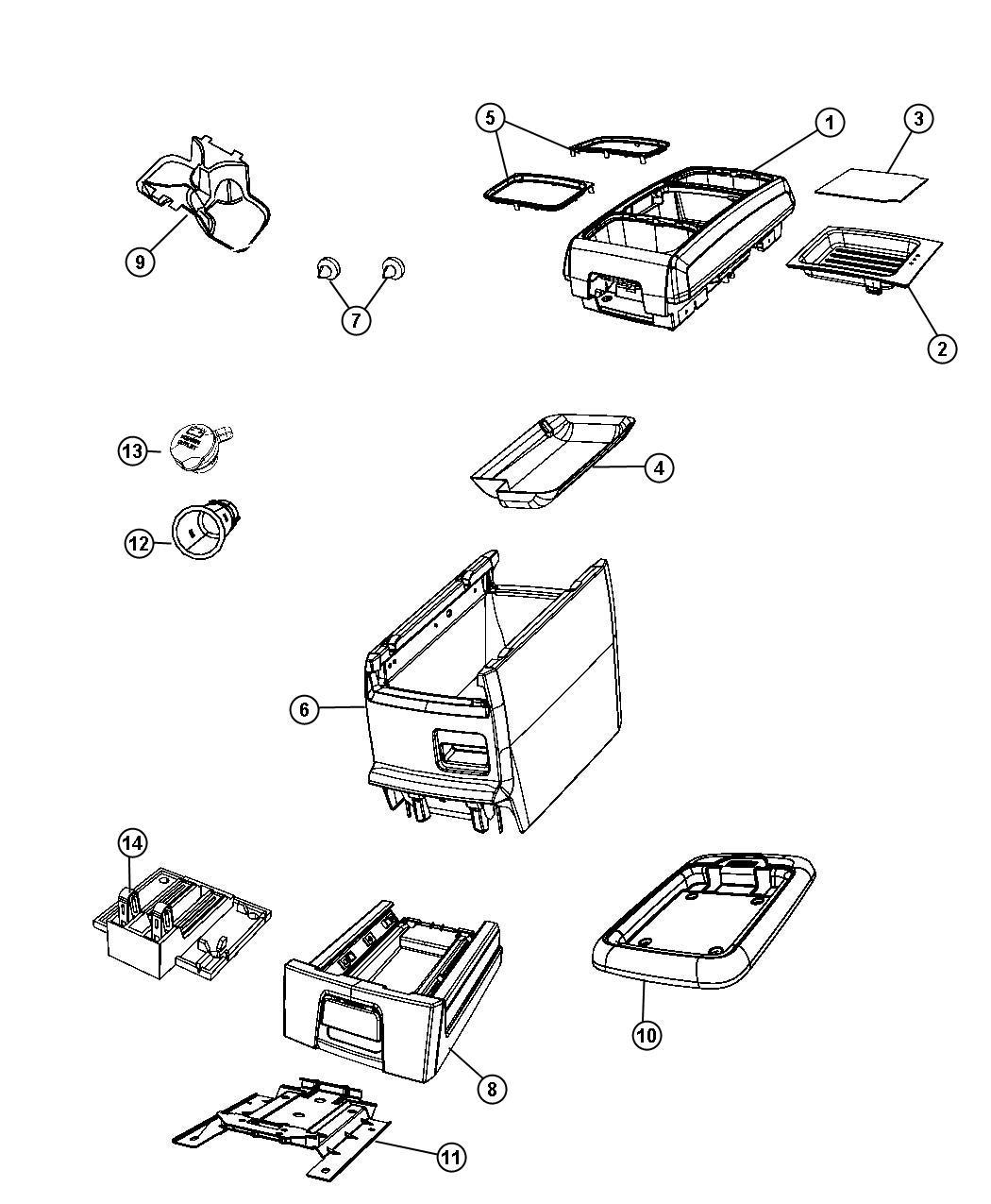 Dodge Grand Caravan Lid Center Console Storage T1
