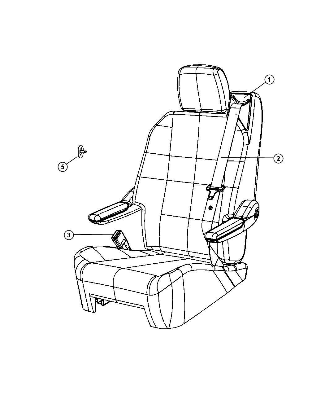 Dodge Grand Caravan Seat Belt Swivel Seat Right Trim