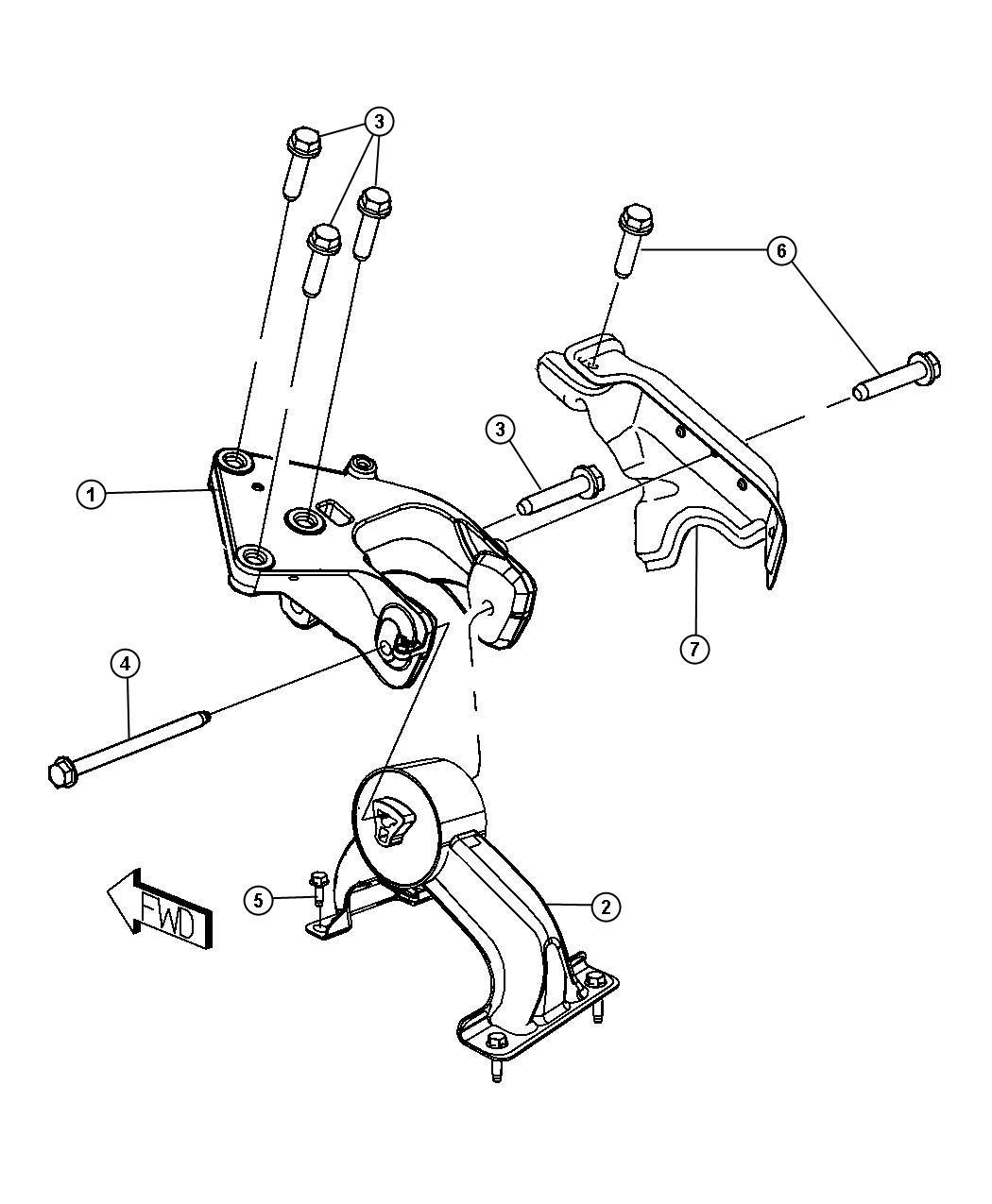 Dodge Grand Caravan Bracket Engine Mount Rear Mounting