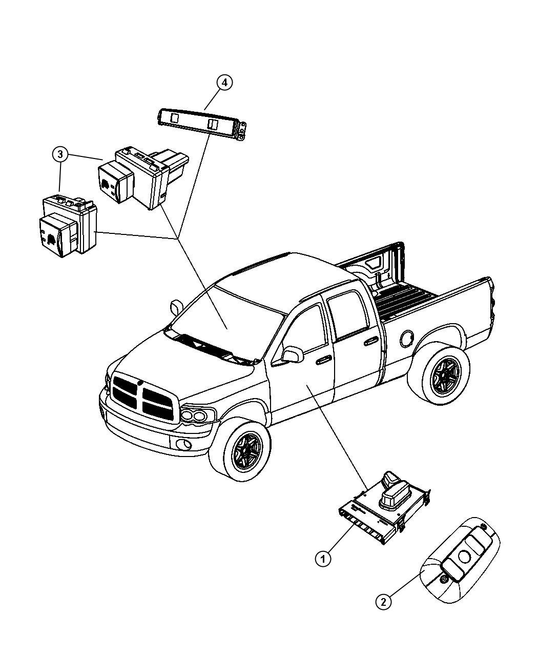 Dodge Ram Switch Power Seat Right Trim Seat