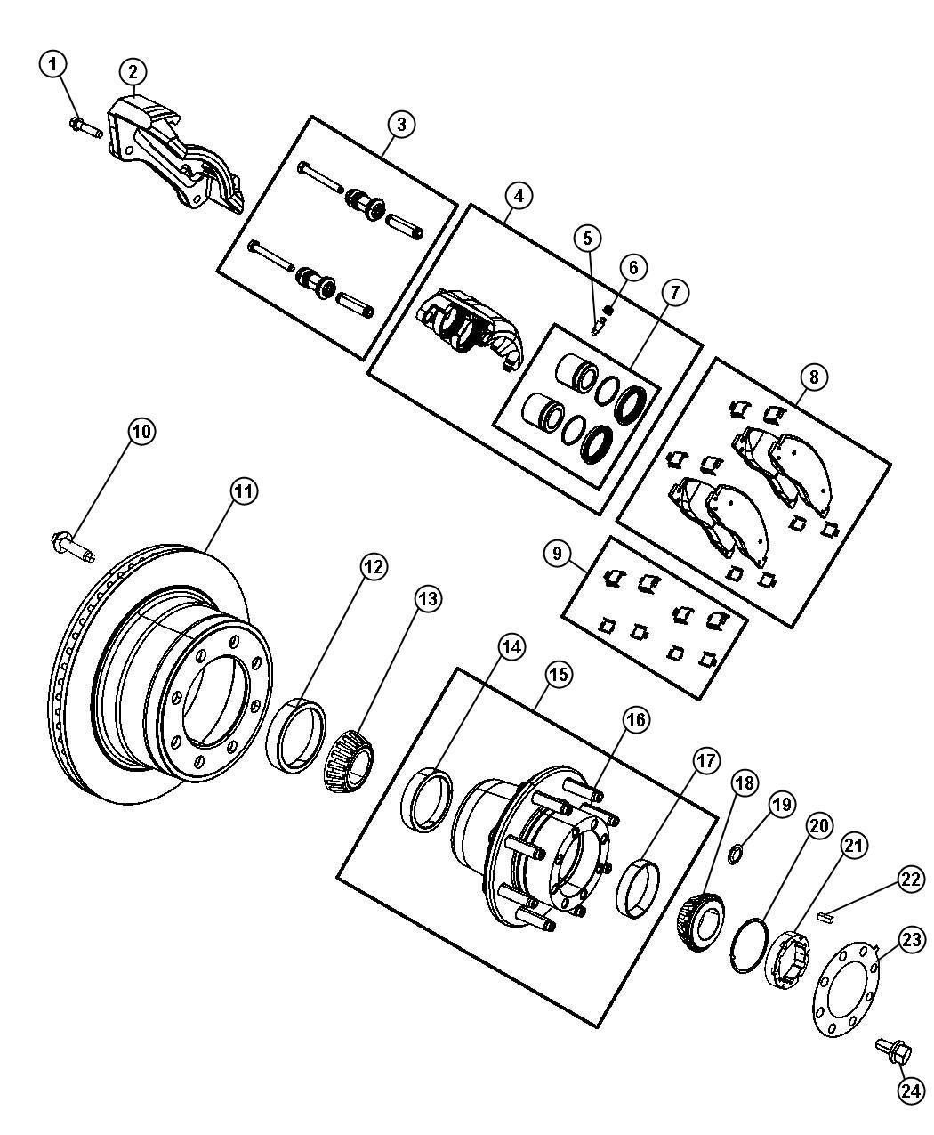 Dodge Ram Adapter Disc Brake Caliper Rear
