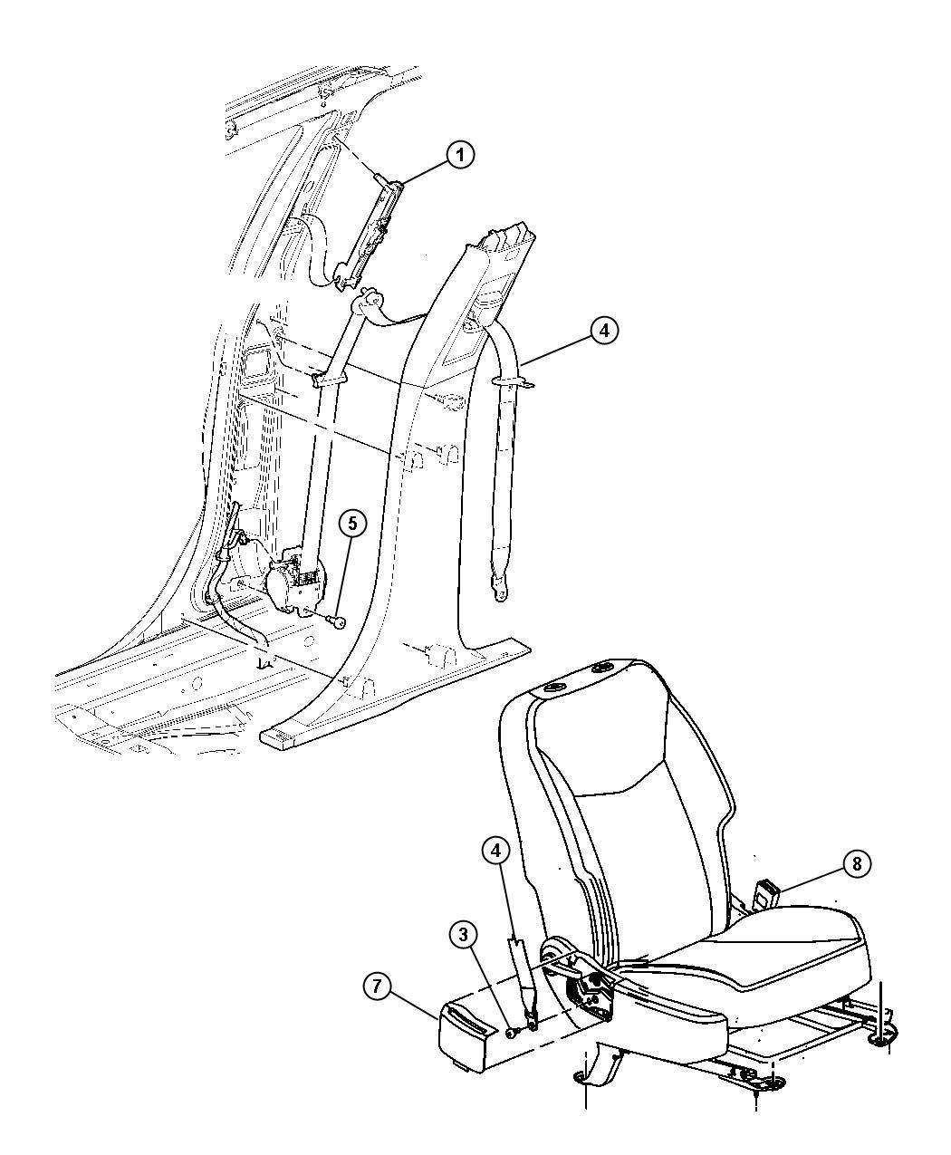 Chrysler Sebring Seat Belt Retractor Right Dv Trim