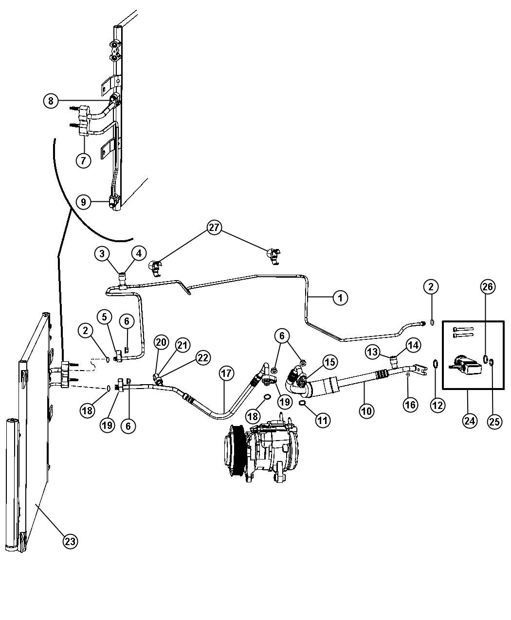Dodge Ram Line A C Suction Air Conditioning Engine