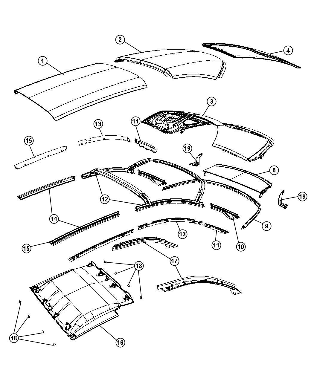 Chrysler Sebring Weatherstrip Folding Top Side Rail