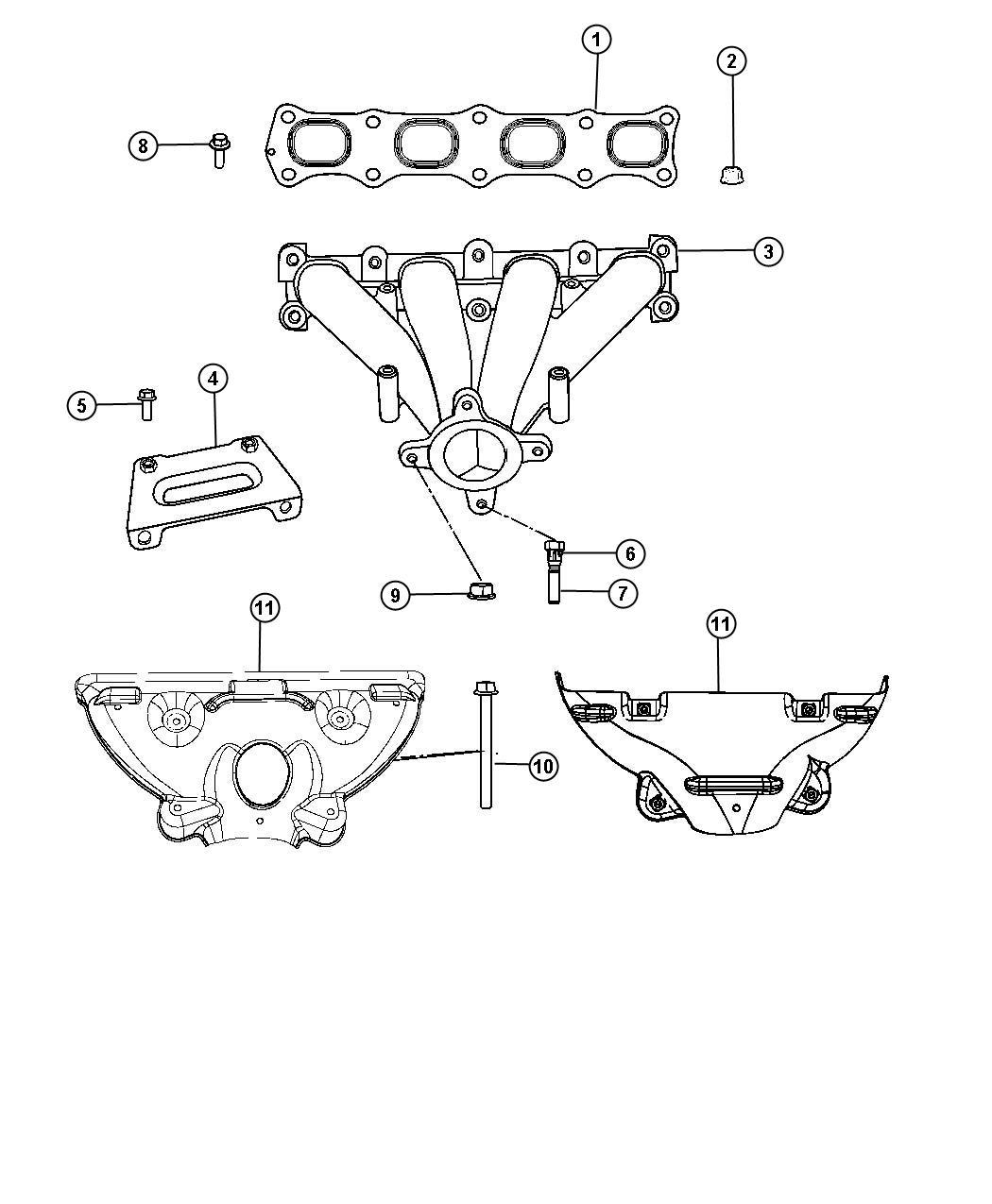 Dodge Avenger Shield Exhaust Manifold Heat Lower Fwd