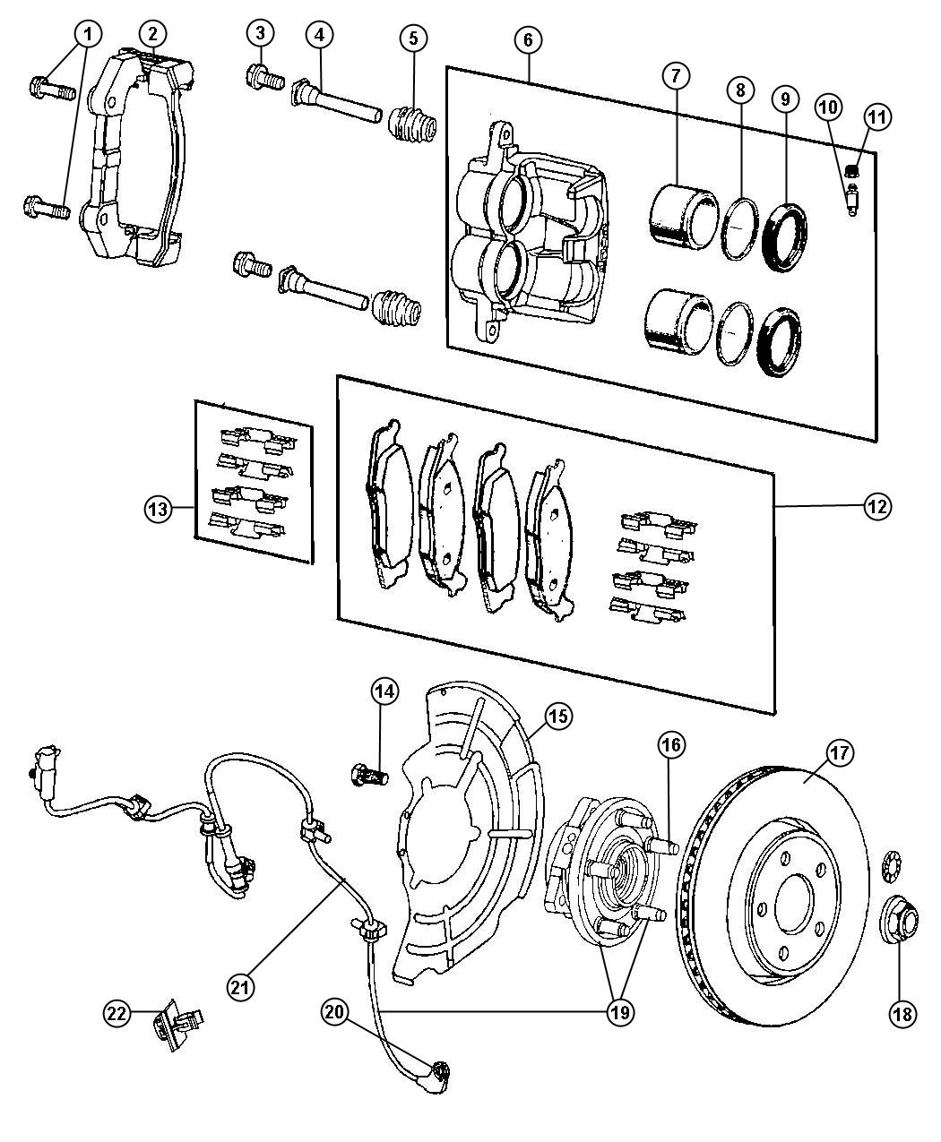 Jeep Commander Pin Caliper Right Or Left Front Brakes