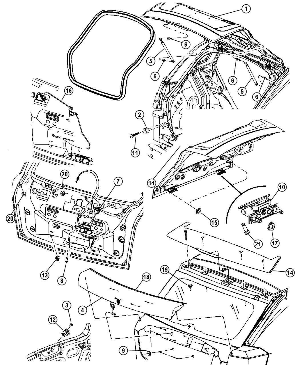 Dodge Caliber Latch Liftgate Locks Power