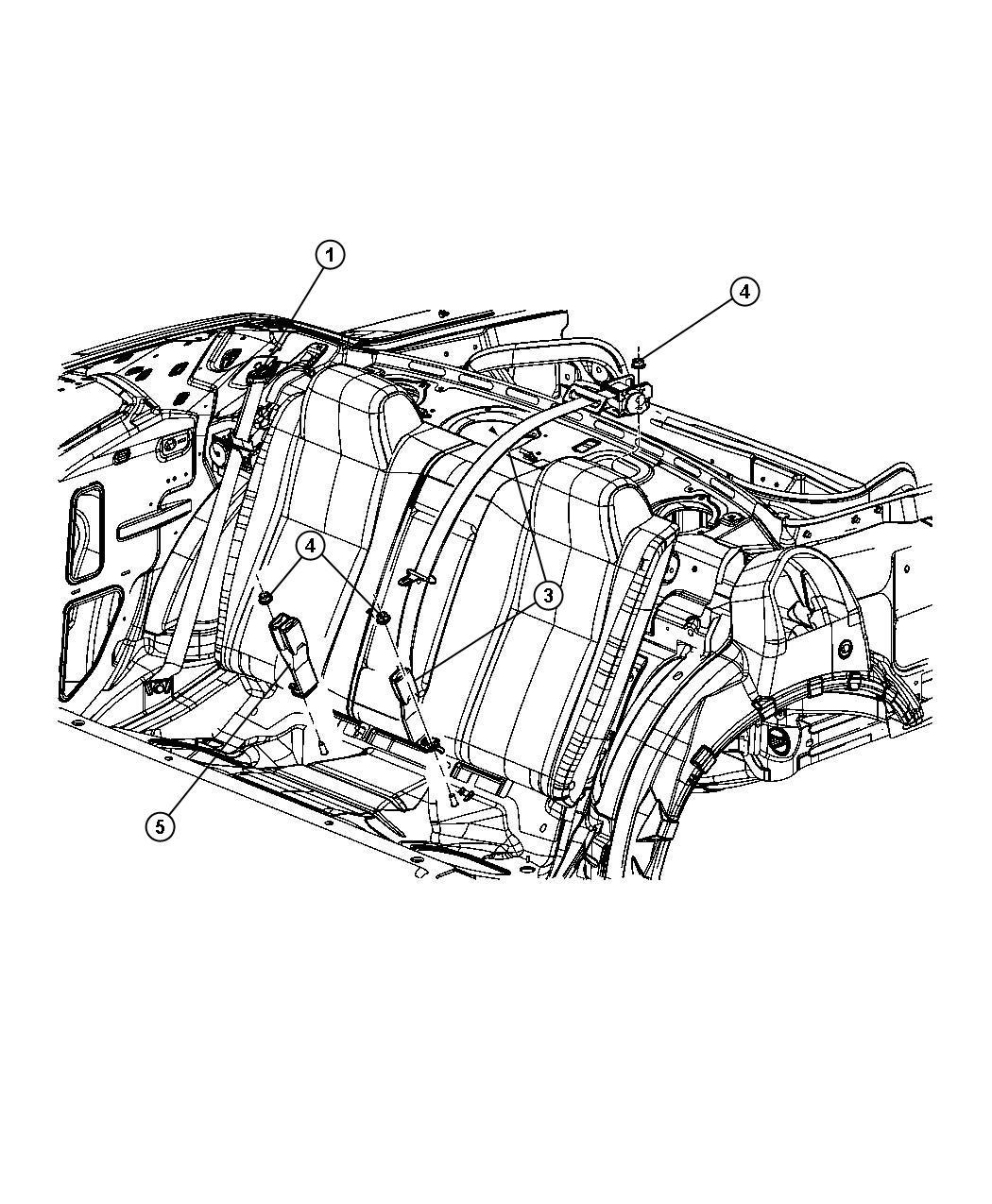 Dodge Challenger Seat Belt Rear Center Shoulder Dv
