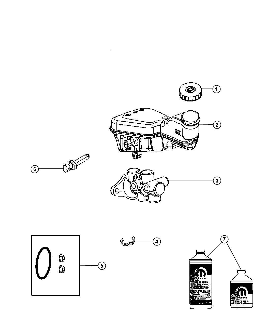 Dodge Caliber Reservoir Brake Master Cylinder Right