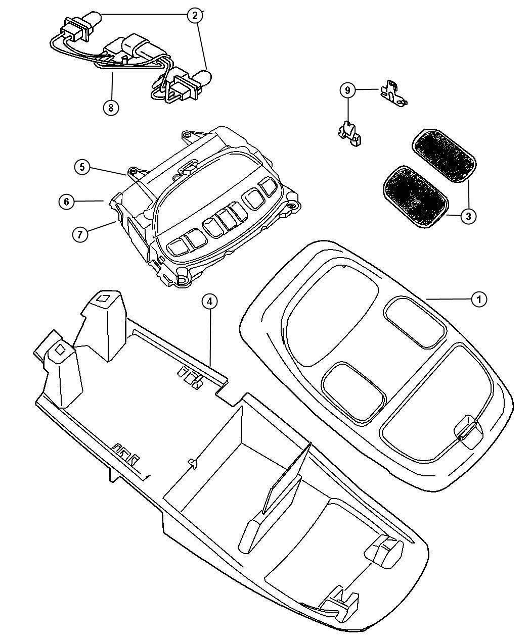 Dodge Ram Housing Overhead Console Trim All