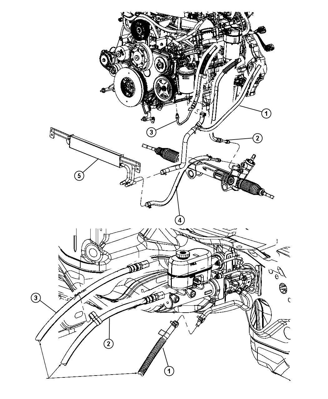 Dodge Ram Hose Power Steering Return Gear To