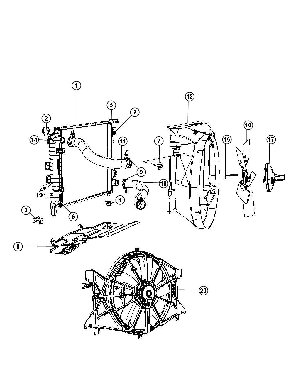 Dodge Ram Shroud Fan Upper Engine Duty Heavy
