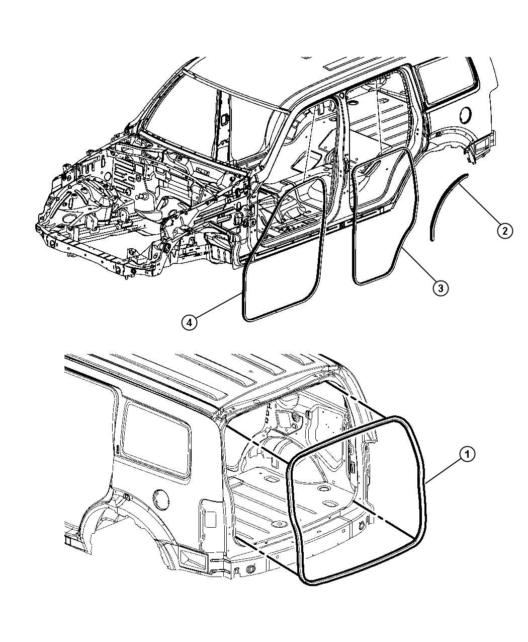 Dodge Nitro W Strip Rear Door Body Mounted
