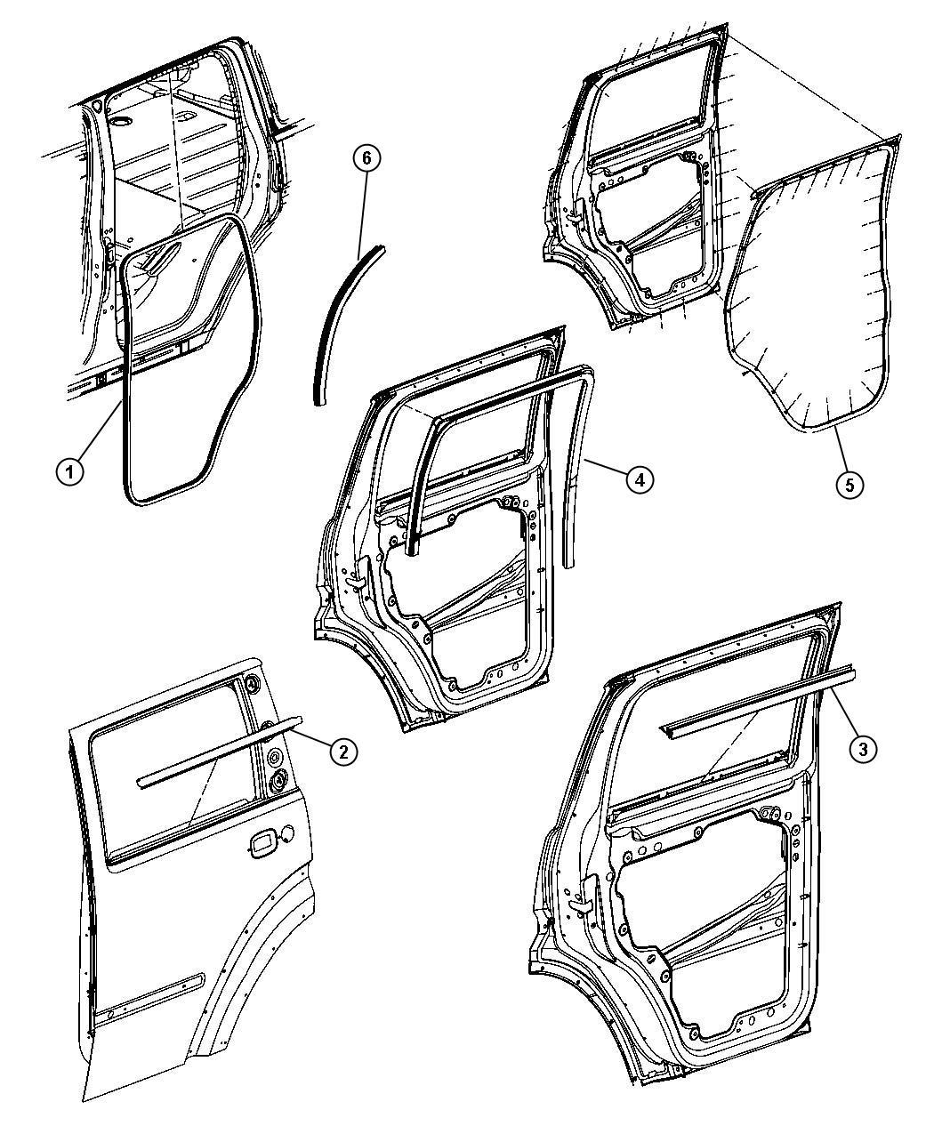 Dodge Nitro Weatherstrip Rear Door Belt Outer Right