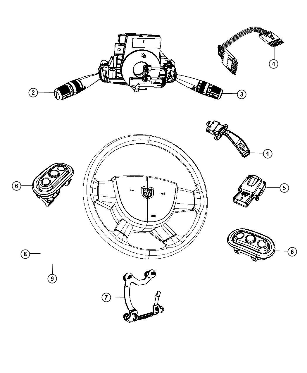 Chrysler Sebring Wiring Steering Wheel Trim No