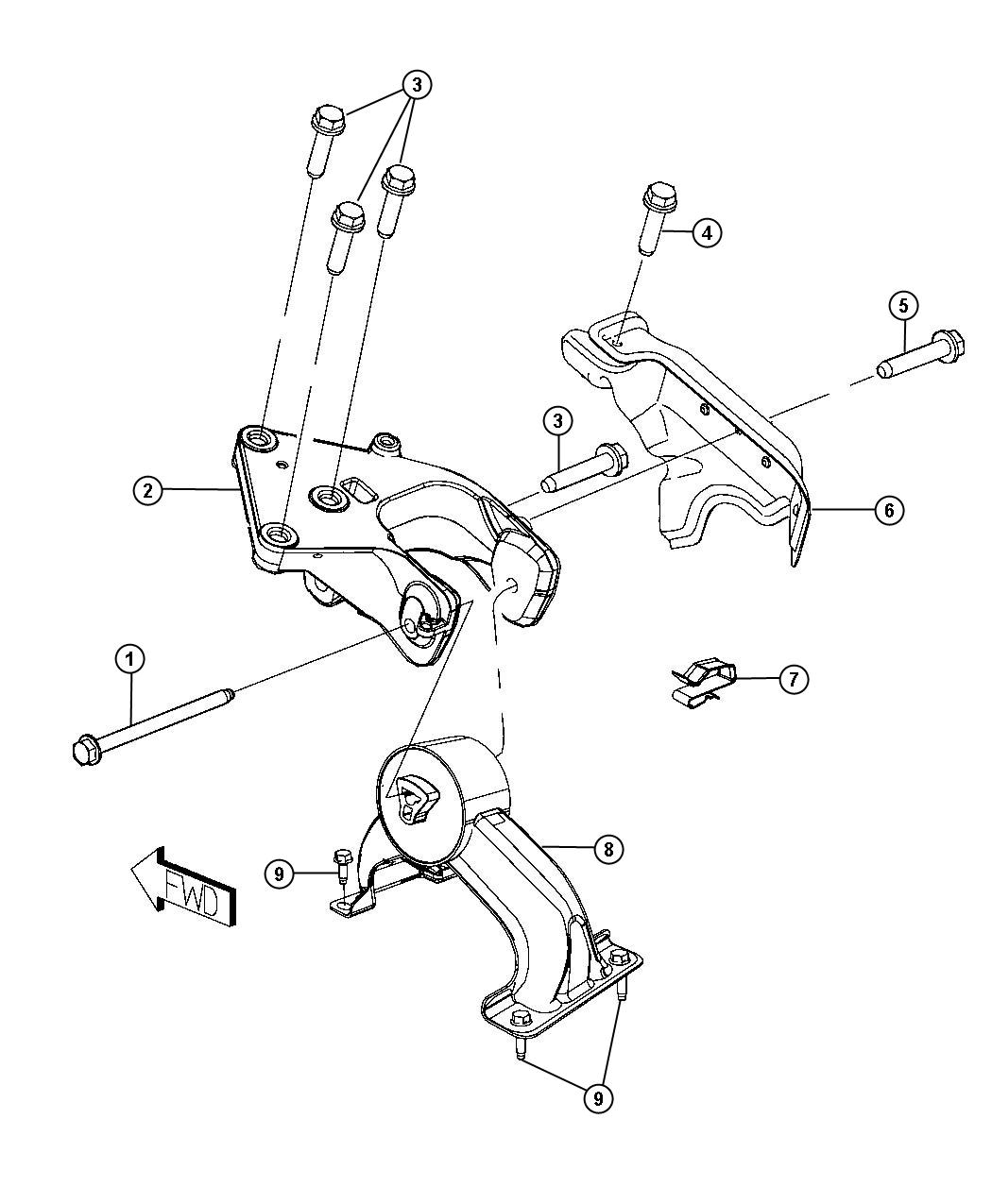 Chrysler Town Amp Country Bracket Engine Mount Rear Fwd