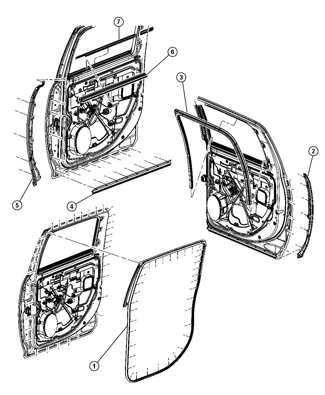 Dodge Ram Weatherstrip Rear Door Belt Outer