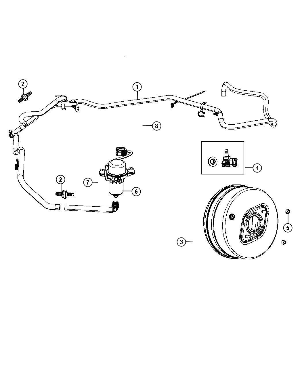 Dodge Durango Hose Brake Booster Vacuum All V6 Engines