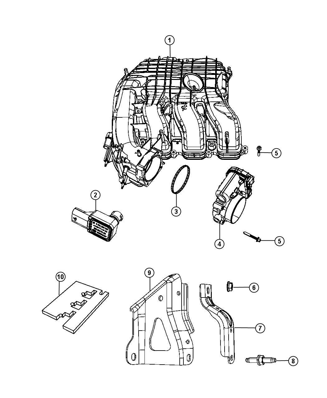 Dodge Grand Caravan Plenum Intake Manifold Engine Vvt
