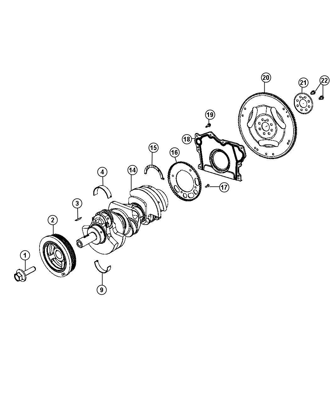 Dodge Durango Crankshaft Bearings Damper Flywheel