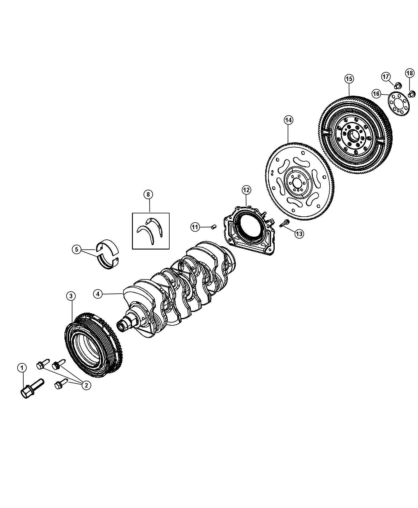 Fiat 500c Bearing Crankshaft Thrust Red Bearings