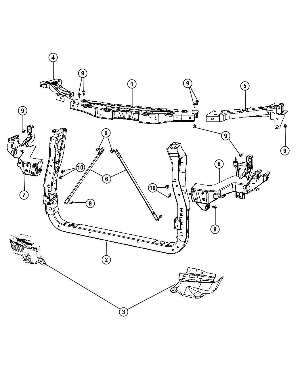 Jeep Grand Cherokee Beam Front Bumper Leg Catcher