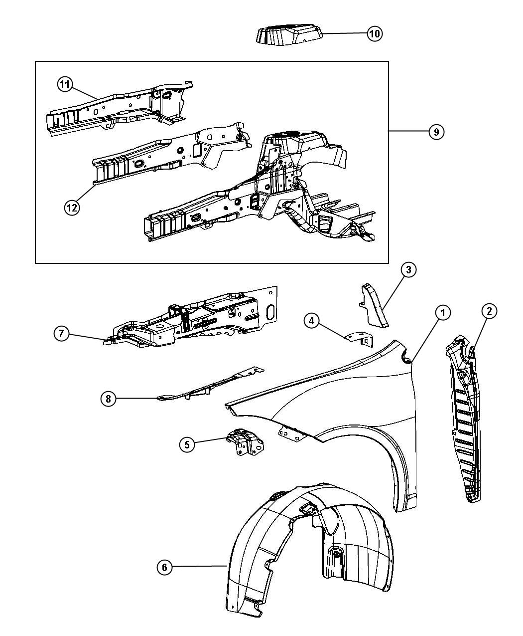 Chrysler 200 Beam Left Right Inner Load Path