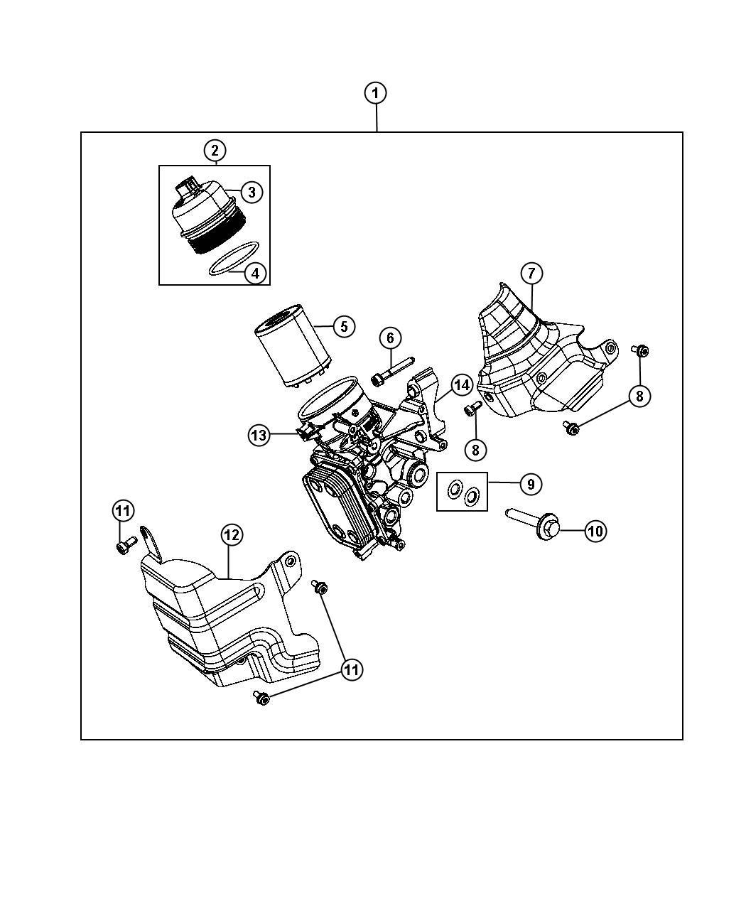 Dodge Dart Gasket Engine Oil Cooler Housing Filter