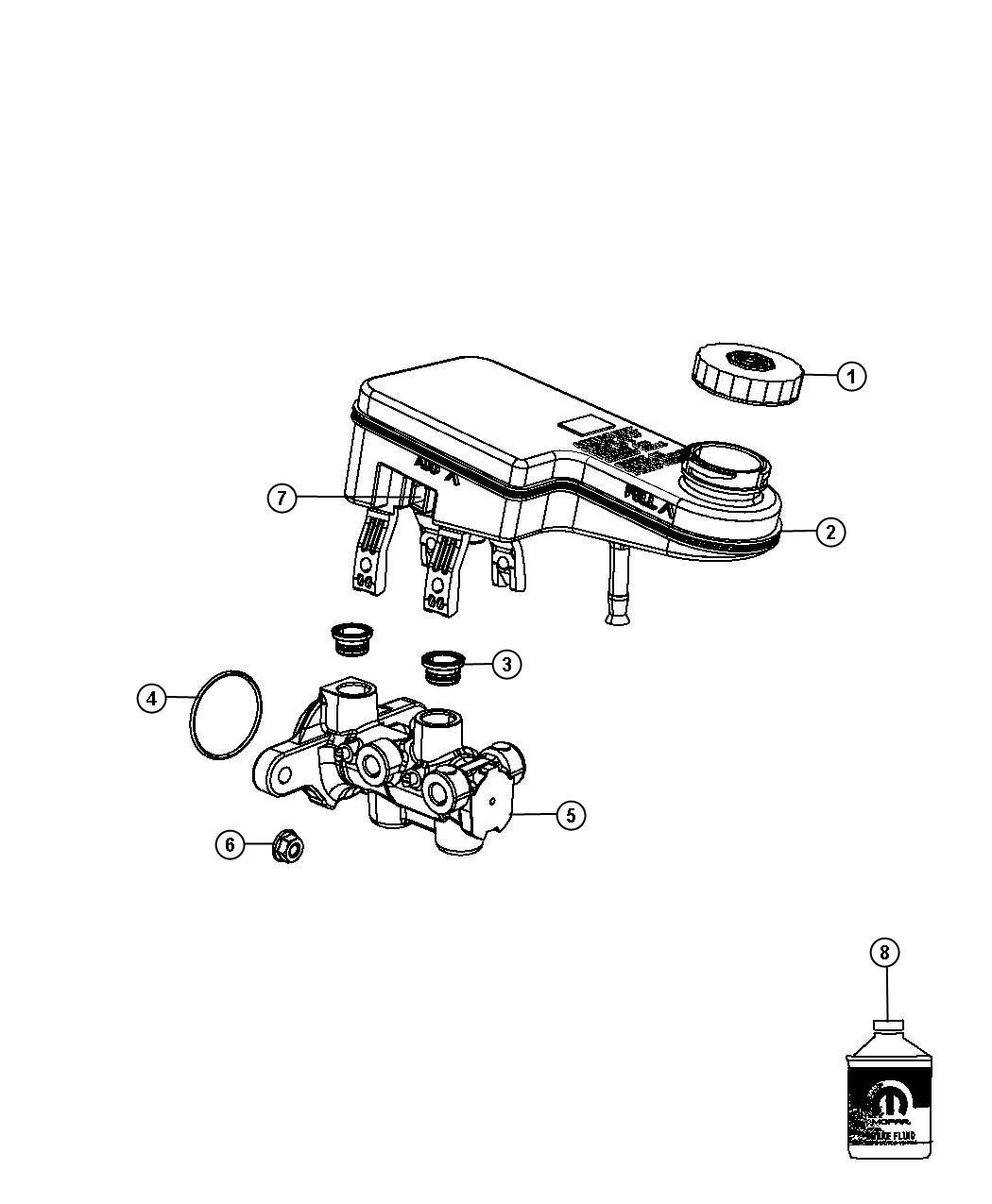 Chrysler 200 Reservoir Brake Master Cylinder