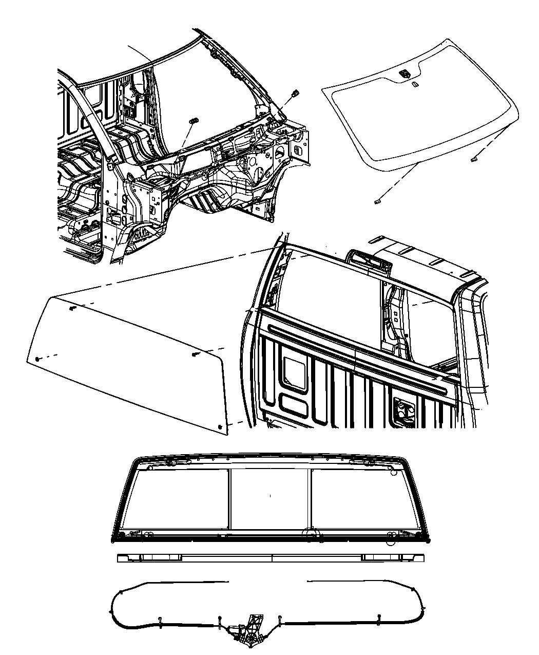 Dodge Ram Glass Backlite Sliding Assembly Glass Gfe Power Sliding Assembly