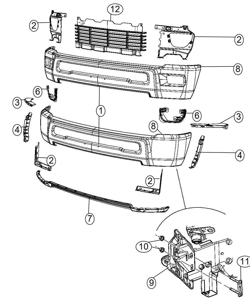 Dodge Ram Bracket Tow Hook Right Hooks