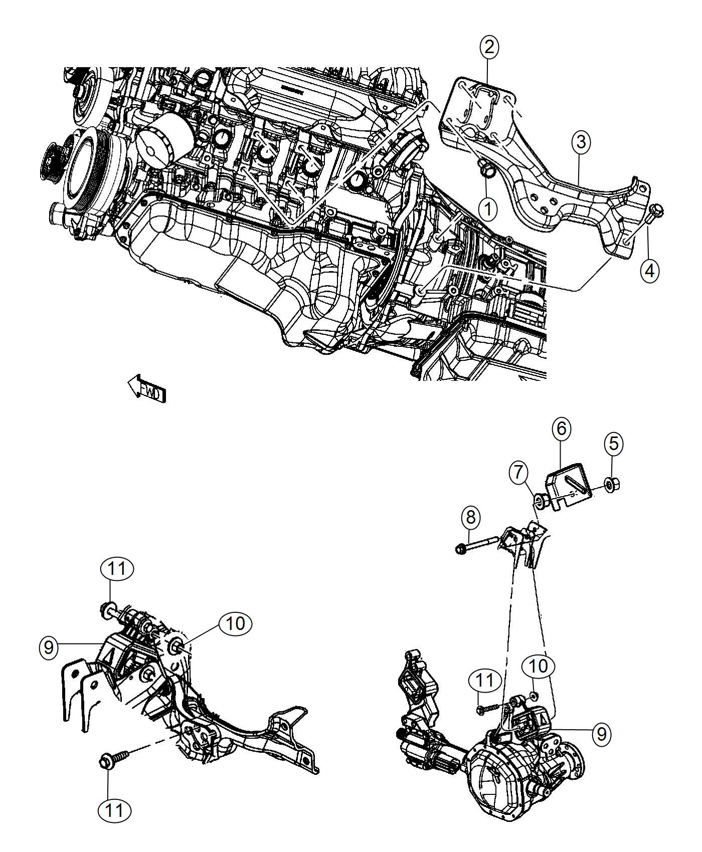 Ram Bracket Engine Mount Left Side 6 Spd