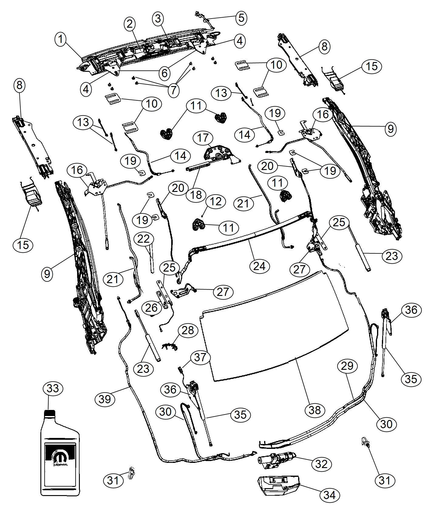 Chrysler 200 Plate Header Latch Top Attaching