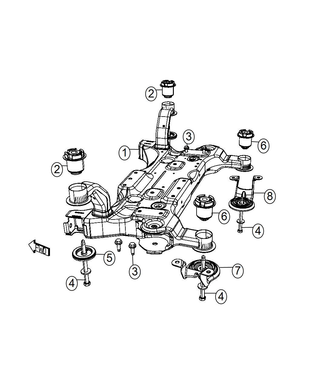 Dodge Grand Caravan Plate Isolator Suspension Front