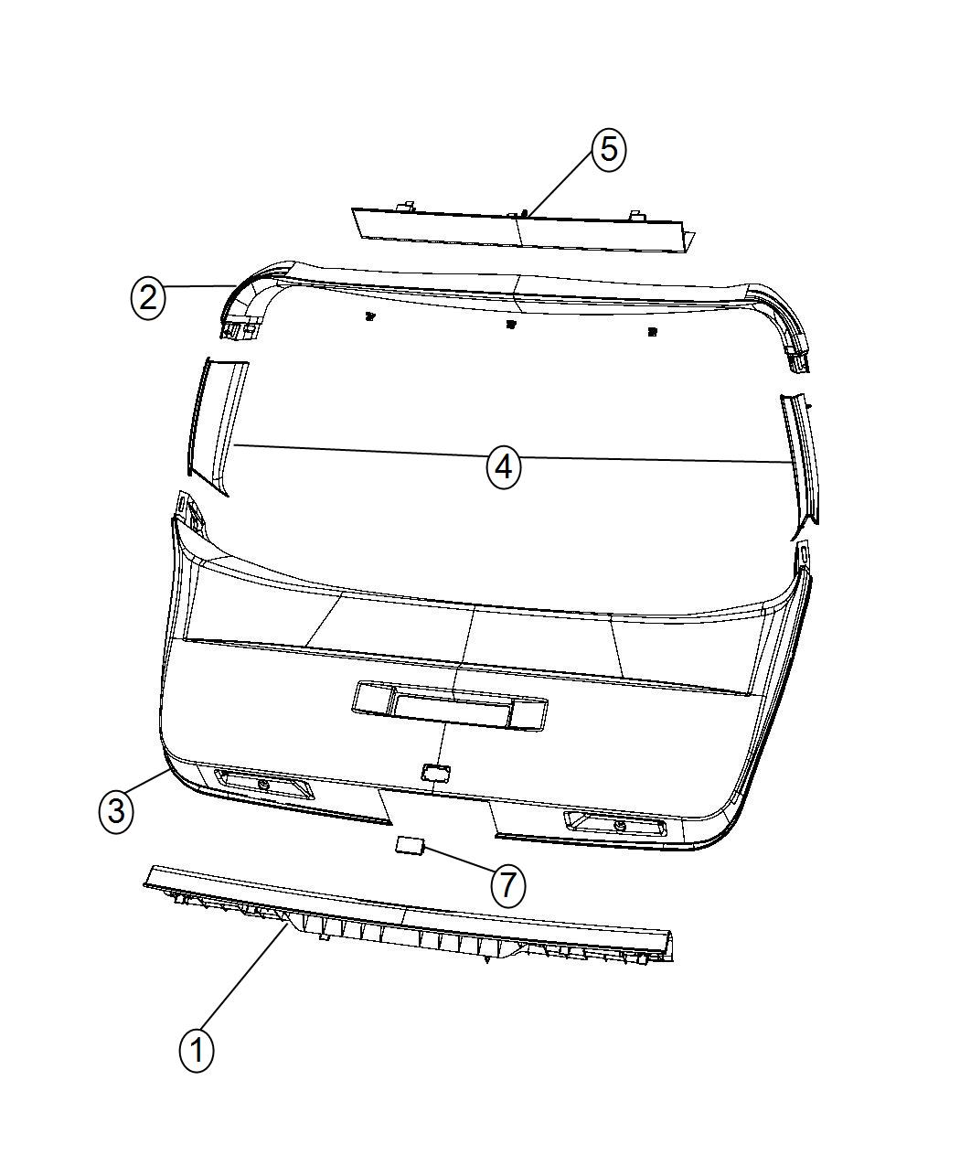 Dodge Journey Panel Liftgate Trim Lower X4 X5 X9 Xl Xw X4 X5