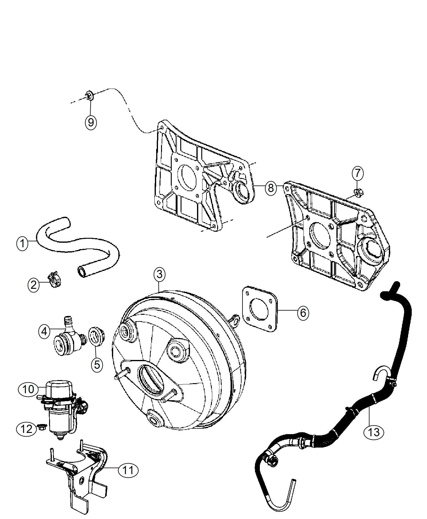 Jeep Wrangler Hose Brake Booster Vacuum 3 0l V6 24v Vvt
