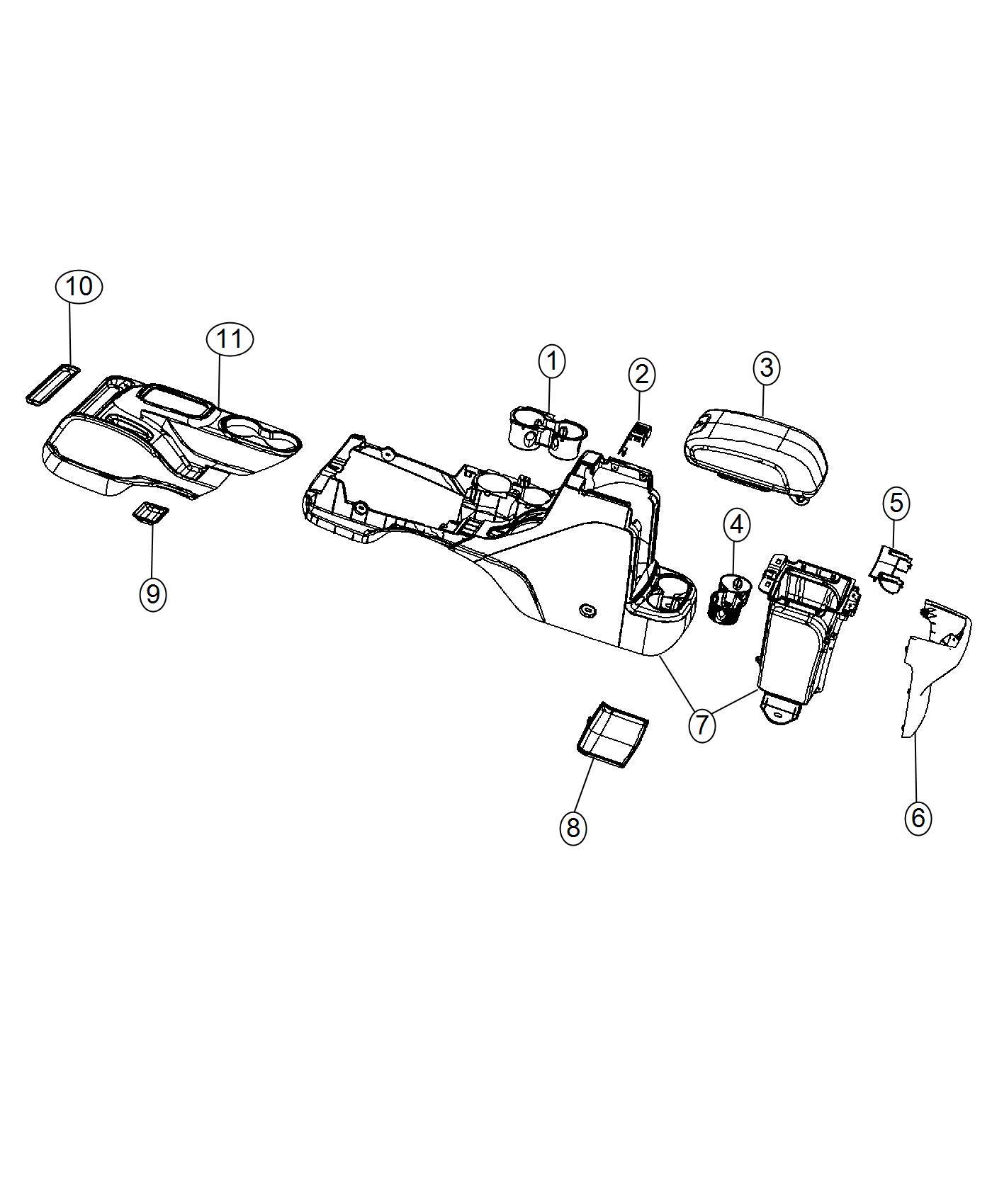 Jeep Wrangler Lid Center Console Storage Trim No